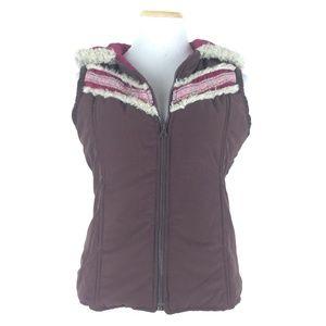 Free People Size M Faux Fur Hooded Zip Vest